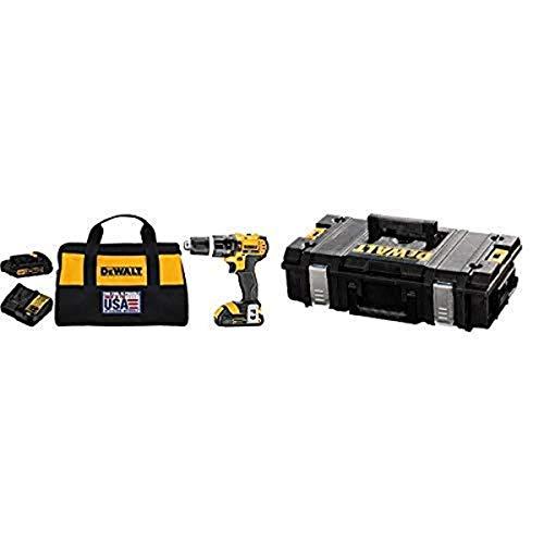DEWALT DCD785C2 20V MAX Lithium Ion Compact 1.5 Ah Hammer Drill/Driver Kit with DEWALT DWST08201 Tough System Case, Small