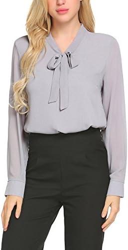 ACEVOG Business Shirt Womens Pussycat Bow Tie Neck Long Sleeve Chiffon Light Grey Blouse Medium product image