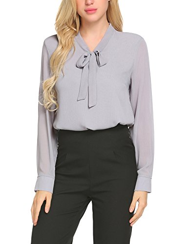 ACEVOG Business Shirt Womens Pussycat Bow Tie Neck Long Sleeve Chiffon Light Grey Blouse,X-Large