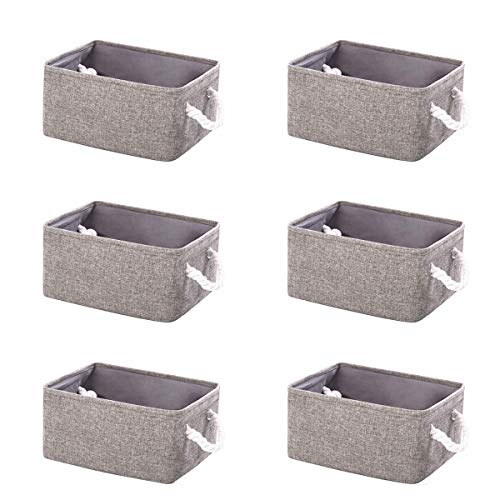 6Pcs Collapsible Fabric Storage Cubes Organizer, Flax Organizer Foldable Waterproof with Handles 12 x 8 x 5 Inches, Basket for Blanket Living Room, Toy Basket, Laundry Rope Baskets, Cosmetic Organizer