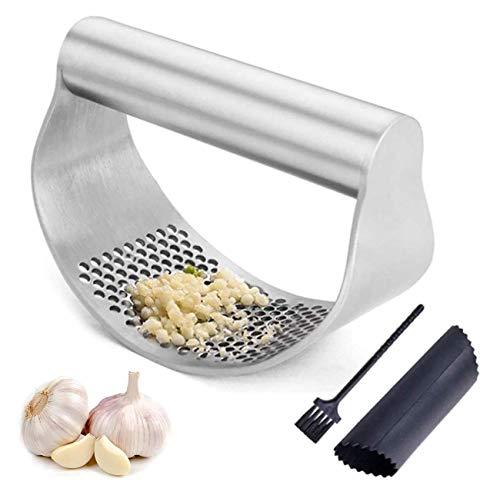 wkwk Single-pack Garlic Garlic Press Food Grade Stainless Steel,garlic Peeler Garlic Cleaning Brush,easy To Clean And Use