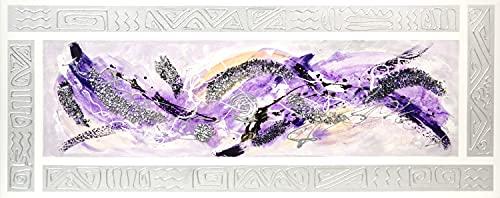 Cuadroexpres - Cuadro Pintado Abstracto Lila 150x60 cm 100% Original, con Piedras Brillantes y Marco Relieve en Plata Pintado sobre el Lienzo