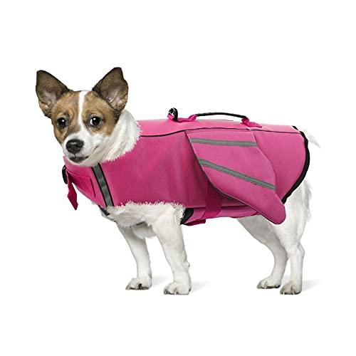 PUMYPOREITY Giubotto Salvagente per Cani Gilet Salvataggio Galleggiante Giacca Salvagente Cani Lifesaver Mare Nuoto Vest con Striscie Riflettenti per