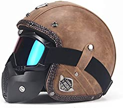 XuBa Unisex PU Leather Helmets 3/4 Motorcycle Chopper Bike Helmet Open Face Vintage Motorcycle Helmet with Goggle Mask for Men and Women, Light Brown L