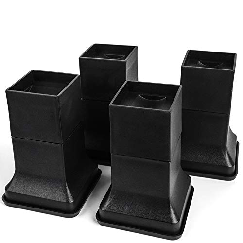 """MEETWARM 6 Inch Bed Risers for Casters Wheels and Square Legs, Adjustable Height from 4"""" to 6"""", Protect Floors with Non-Scratch, Non-Slip Rubber Pads, Set of 4"""