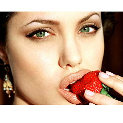 arteWOODS Angelina Jolie Hot Lips Strawberry-Wall Sticker Poster Light Canvas Decoration Living Room Decoration painting50x70cm con Marco
