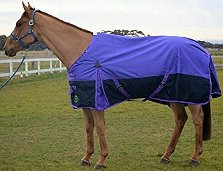 """RUMANI Conquest 1200D with 220G Fill Winter Waterproof Paddock Turnout Horse Rug, 7'0"""", Lilac Top and Navy Bottom Combination"""