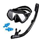 AQUA A DIVE SPORTS Snorkeling Gear Snorkel mask Scuba Set Scuba mask Diving mask Snorkeling Gear Swimming Goggles Snorkeling Set Swim Dive mask (Black)