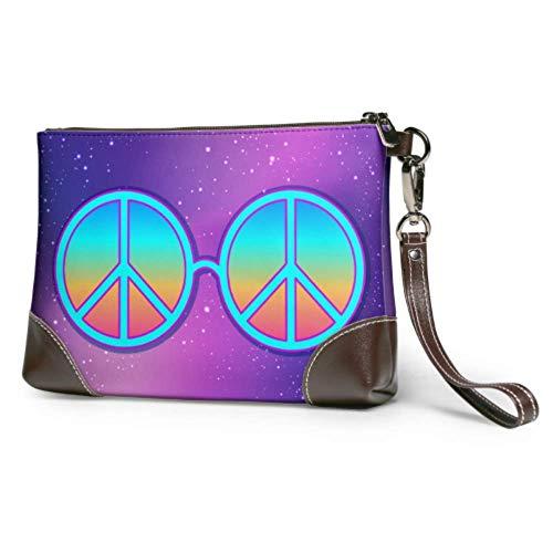Hdadwy Cartera de pulsera con estampado impermeable suave, gafas redondas, signo de la paz hippie, cartera para teléfono móvil con cremallera para mujeres y niñas