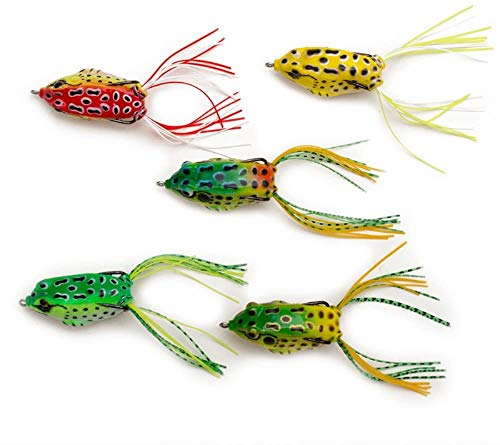 5pcs Topwater Soft Plastic Swimbait Lures Frog Baits Crankbaits for Bass Snakehead Freshwater Fishing (Frog) by Aomeiter (Multicolor)