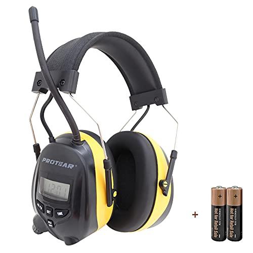 PROTEAR Protectores auditivos con radio AM/FM de 3,5 mm para teléfono y MP3 estéreo, protección auditiva para trabajar y segar, SNR 30 dB, color negro