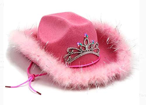 Pink Light up Tiara Cowgirl Dress Up Hat With Feather Trim - Blinking Rodeo Princess Cowboy Hat