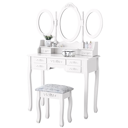 Mecor Makeup Vanity Table, Vanity Set with Tri-Folding Mirror, Wood Dressing Table...