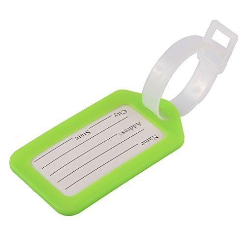 DealMux plástico forma de rectángulo Tag Maleta Mochila bolsa de equipaje Verde...