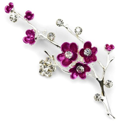 Elixir77UK Silver Colour with Purple Blossom Flower Party Gift Pin Brooch with Plain Crystals UK Seller