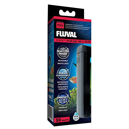 Fluval P50 Submersible Aquarium Heater for Up to 15 Gallons, 50 Watts