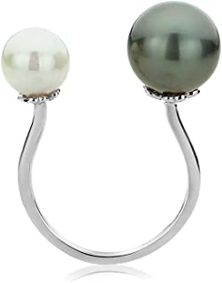 14K Gold Pearl Open Ring Adjusable Natural Color South Sea Cultured Tahitian Black Pearl Ring (Size 4 to 11)