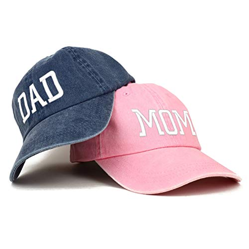 Trendy Apparel Shop Capital Mom and Dad Pigment Dyed Couple 2 Pc Cap Set - Pink - Navy