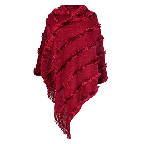 Schal Frauen Winter Streifen Tassel Schal Und Wraps Starke Warme Decke Schal Aufmaß Kapuze Ponchos UmhäNge Red