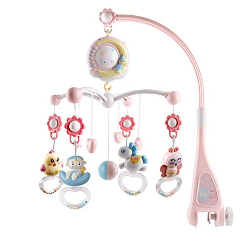 Gidenfly Baby Musical Mobile Crib with Music and Light, Musical Star Cot Mobile with Starlight Projection Rattle Toy for Newborns Babies Boys Girls