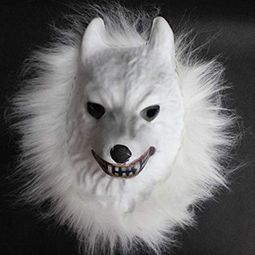 XWYWP Mscara de Halloween Mscara de animales crudos Tigre/Len/Mono/Lobo Partern Cara Completa Cosplay Halloween Disfraz realista Melena de Piel Ltex espeluznante Nuevo A3Wolf