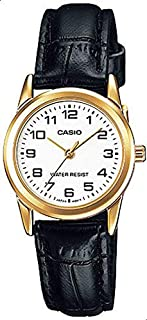 Watch for Women by Casio, Analog, Leather, Black, LTP-V001GL-7B