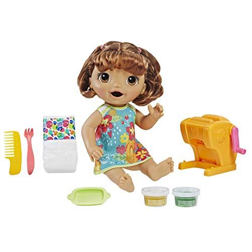 Baby Alive Nudelspaß Baby, braunhaarige Puppe mit Nudelmaschine, die isst und in den Windel macht, ca. 30 cm Groß