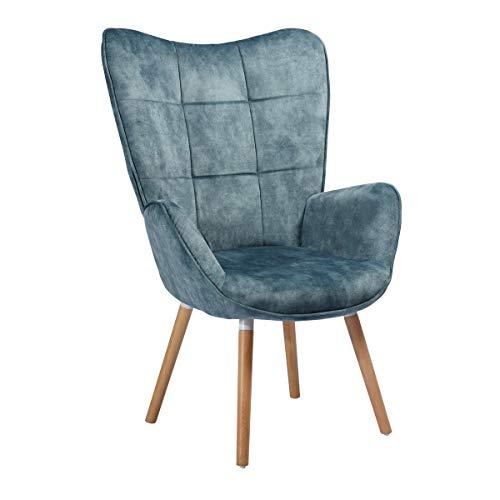 MEUBLE COSY Grand Fauteuil au style scandinave avec un revêtement en tissu bleu, des accoudoirs rembourés et des pieds en Bois massif (Hêtre) , Bleu et Hêtre /bleu