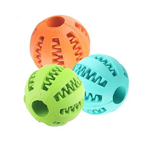 MINGZE 3 Piezas Dog Ball Toys para Mascotas, No tóxica Goma Masticar Juguetes Perros Gatos Pelota Limpiar Dientes Mascotas Alimentos Pelota Pequeño y Mediano Cachorro Aumenta Inteligencia