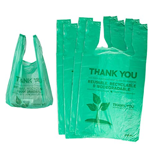 [1000 Pack] Recyclable Compostable Reusable Biodegradable Bags Grocery Shopping Bags Green, Eco Plastic Bags