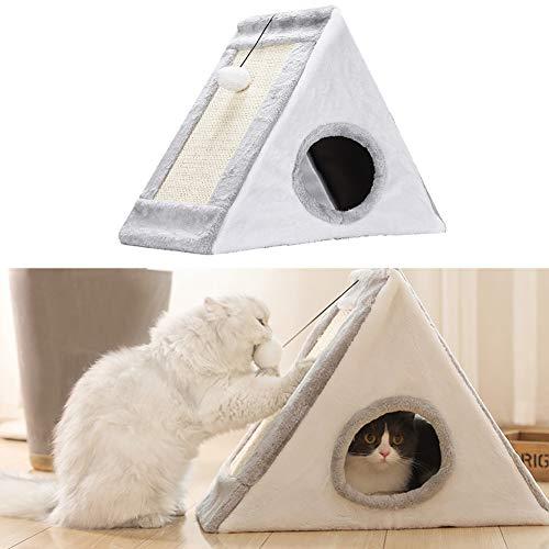 XianghuangTechnology Cama para gatos 2 en 1 con poste rascador triangular, casa para gatos totalmente plegable, para...