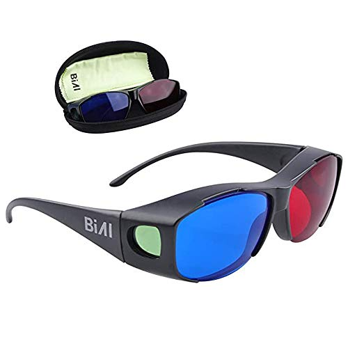 BIAL 1 PACK Red-Blue 3D Glasses with Glasses Case Cyan Anaglyph Simple Style 3D Glasses 3D Movie Game-Extra Upgrade Style