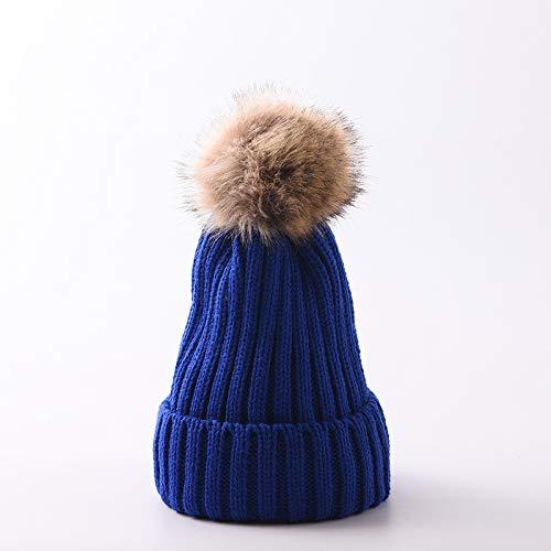 La Lana de los niños Sombrero de Hombres y de Mujeres de Punto de bebé Sombrero Caliente, además de Terciopelo Orejeras Invierno frío Casquillo de los niños Royal Blue/Plus Cashmere