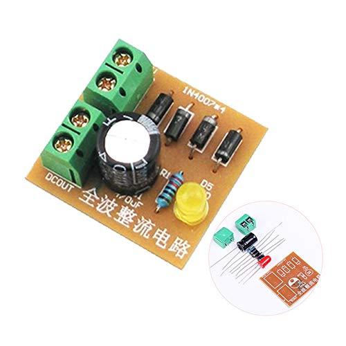 3 unids Kits DIY IN4007 Puente de Onda Completa Puente Rectificador Tablero de Circuitos AC a DC Fuente de Alimentación Convertidor Enseñanza Electrónica