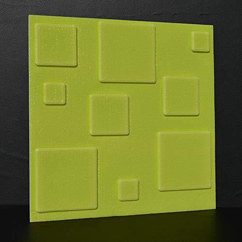 JXBoos Peler et Coller Panneau Mural 3D, Accueil Décorative 3D Wall Stickers Doux Épaissir Anticollision Imperméable Fond d'écran 3D Emboss-Vert 30x30cm(12x12inch)