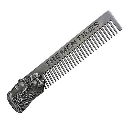 BOLUOBAO Peigne Barbe Acier Courte Petite Chic Portable Peigne Barbe Homme Inox Poche Fin Peigne Cheveux Mini (15 x 3 cm / 5.9 x 1.2 inch, Argenté)