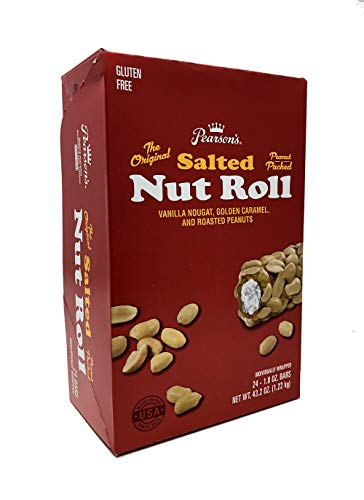 Pearson's Salted Nut Roll | Loaded With Crunchy Roasted Peanuts, Golden Caramel, and Creamy Nougat | Pack of 24 - 1.8 oz. Candy Bars