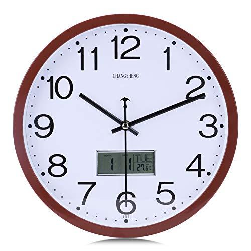 Lafocuse Reloj de Pared Silencioso Marrón Calendario LCD Reloj Cuarzo Modernos para Oficina Dormitorio Sala 30 cm