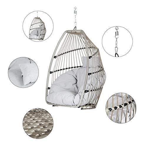 Sekey Polyrattan Hängesessel mit Gestell, Garten Hängestuhl inkl. Sitzkissen und Rückenkissen für Balkon, Grau XXL - 4