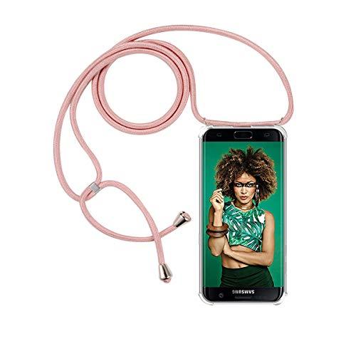 FMPC Carcasa con Cuerda Samsung Galaxy S7 Edge, Cristal TPU Silicona Transparente Ultrafina de movil Case con Colgante Funda Protector Airbag [Moda y Practico] Anti-rasguños Antichoque