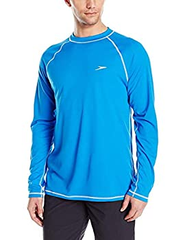 Speedo Men s Uv Swim Shirt Long Sleeve Loose Fit Easy Tee Bright Ocean X-Large