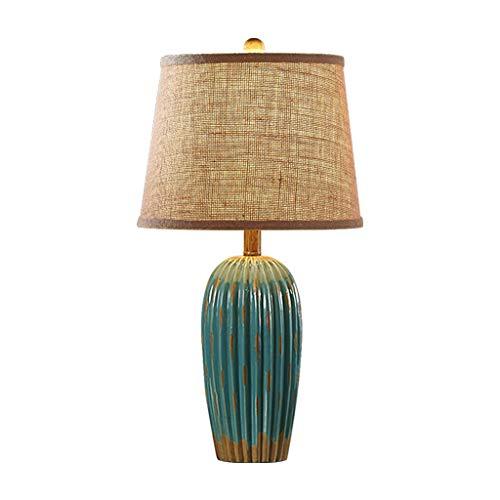 Lámparas de Mesa Lampara mesita Noche Lámpara de Mesa, Dormitorio, lámpara de Noche de cerámica de Estilo Europeo, Color Azul, Rojo, Blanco Mesilla de Noche Lámpara de Mesa