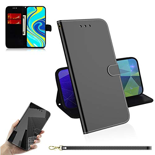 Guran Cover for Xiaomi Redmi Note 9 Pro Smartphone Premium PU Mirror Leather Wallet Flip Protective Case Stand Function Magnetic Card Holders Case - Black
