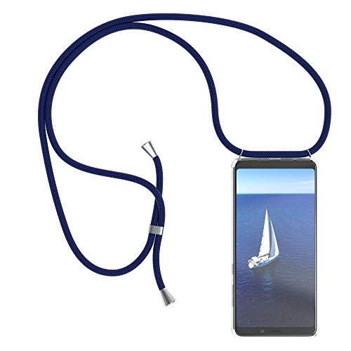 EAZY CASE Handykette kompatibel mit Samsung Galaxy A9 (2018) Handyhülle mit Umhängeband, Handykordel mit Schutzhülle, Silikonhülle, Hülle mit Band, Stylische Kette mit Hülle für Smartphone, Navy Blau