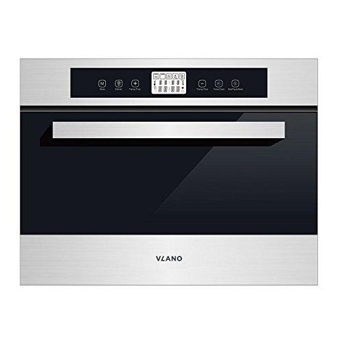 Vlano / O 845 IB/Einbau Kompakt Backofen / 60 cm breit / 45 cm Einbauhöhe, 43 L Garraumvolumen/schwarzer Glasfront/Edelstahl / 8 Beheizungsarten/Digitaler Timer LED Display/EEK A