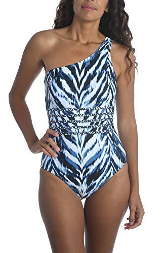 La Blanca Women's Shoulder One Piece Swimsuit, Indigo//Animal Instinct, 10