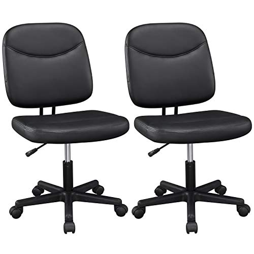 YAHEETECH 2pcs Armless Leather Desk Chair Low-Back Adjustable Office Chair Mid-Back Task Chair, Black