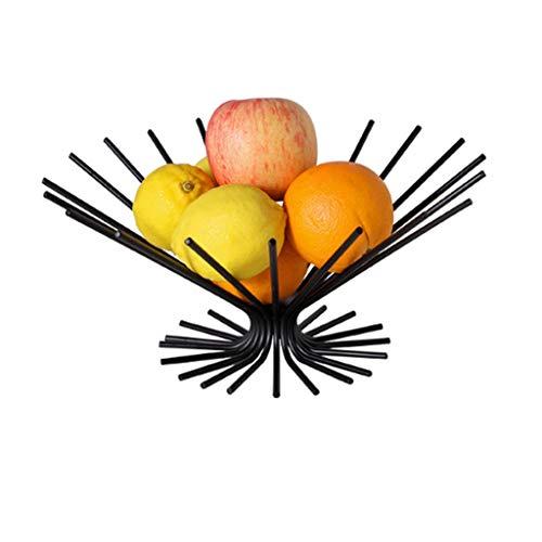 Yyqx Fruit Bowl Creative Irregular Desktop Fruit Basket Iron Fruit Plate Table Countertop Décor Fruit Bowl & Kitchen Organization Fruit Stand Fruit basket (Color : Black)