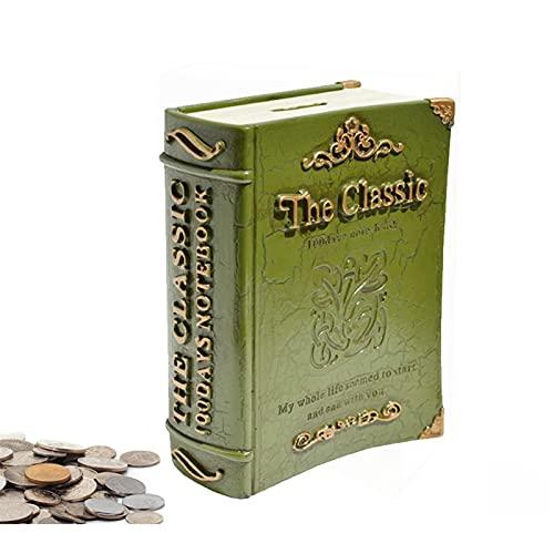 Creative Piggy Bank Resin English Dictionarial Book Formado Piggy Bank Moneda Banco Ahorro Dinero Colección Caja Caja Figurines Niños Regalo de Cumpleaños Piggy Bank ( Color : Green , tamaño : Small )