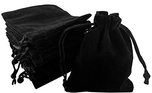 Pouchy 10Pcs Soft Black Velvet Jewellery Pouches Gift Bags with Drawstring (15x20 cm)